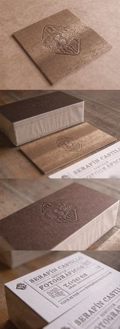 Beautiful Earthy Blind Pressed Wood And Letterpress Business Cards For A Photographer