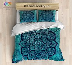 Bohemian bedding, Mandala duvet cover set, Bohochic bedroom, bohemian turquoise vintage decor