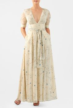 I <3 this Day sky print georgette empire maxi dress from eShakti