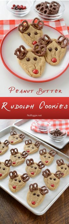 peanut butter rudolph cookies | NoBiggie.net. These would adorable to make with children, then placed on a special plate and milk in a special mug/glass on X-mas Eve for Santa!! Don't forget Rudolph and the reindeer's special food sprinkled on the ground outside and a big bowl of whatever (water or milk??) beverage!!❤️