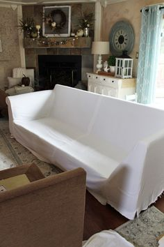 How to make a sectional slipcover, step-by-step with Confessions of a Serial Do-it-Yourselfer Sectional Sofa Slipcovers, Sectional Covers, Armchair Slipcover, Couch Covers, Leather Sectional, Couch Cushions, Diy Furniture Plans, Bedroom Furniture Sets, Furniture Upholstery