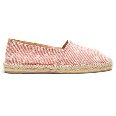 Castañer Kenda canvas espadrilles (72 PAB) ❤ liked on Polyvore featuring shoes, sandals, red stripe, floral sandals, espadrille shoes, canvas shoes, red shoes and striped espadrilles