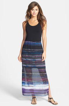 'Sweep Stripe' Chiffon Overlay Maxi Dress (Regular & Petite) by Vince Camuto