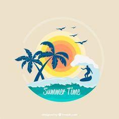 ヤシの木と太陽とサーフィンの背景 無料ベクター