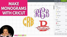 Are you ready to monogram all of the things with your Cricut? I hope so! Because today you'll learn three different ways you can design and make monograms with Cricut. In the video. Cricut Monogram, Cricut Fonts, Cricut Vinyl, Monogram Letters, Cricut Air, Cricut Craft, Monogram Wine Glasses, Swirly Fonts, Wedding Invitation Fonts