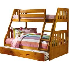 Shop for Cambridge Stanford Honey Pine Twin-over-Full Bunk Bed with Slide-out Trundle. Get free delivery On EVERYTHING* Overstock - Your Online Furniture Outlet Store! Bunk Beds With Drawers, Wooden Bunk Beds, Bunk Beds With Storage, Bunk Beds With Stairs, Bed Storage, Drawer Storage, Bunk Bed With Slide, Double Bunk Beds, Full Bunk Beds