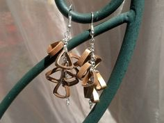 Gold Triangle Cluster Quilling Earrings  by SweetheartsandCrafts