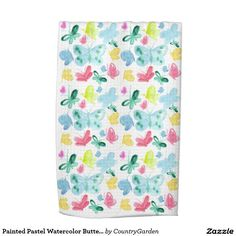 Painted Pastel Watercolor Butterflies Towels