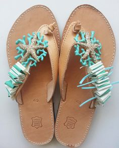 Handmade Leather Sandals with Starfish by SpiceUCreations on Etsy, €37.00