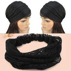 Elegant Women Bandanas Lace Headwrap Headband Girls Hair Accessory Gift black