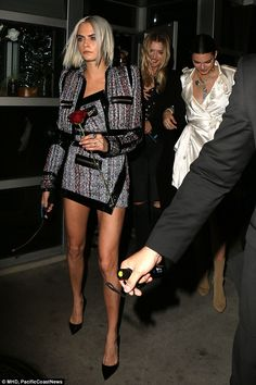 Feel the need for tweed like Cara wearing Alexandre Vauthier #DailyMail Click 'Visit' to buy now