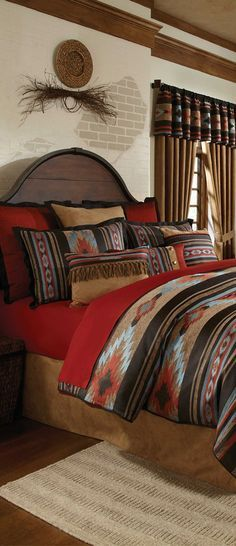 .Southwestern-  Bright red and blue Native American prints. Exposed wood and natural elements.
