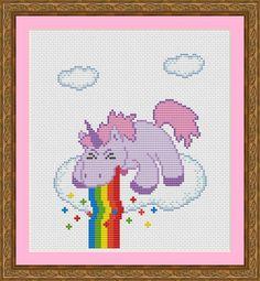 Funny Cross Stitch PDF Pattern Unicorn Puking Rainbow 2
