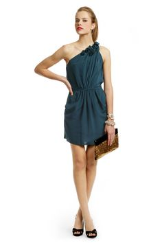 Teal Rosette Tie Dress by Rebecca Taylor for $20.15 - $40 | Rent The Runway