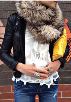 white Pina Lace Top by HD in Paris / fur scarf/ leather jacket/ denim Looks Street Style, Looks Style, Style Me, Fall Winter Outfits, Autumn Winter Fashion, Mein Style, Mode Chic, Looks Chic, Jackett