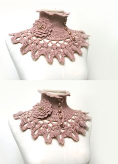 Beige Crochet Neckwarmer / Collar with turtleneck, ruffle neckline, lace collar and flower brooch with glass pearls - NINU'