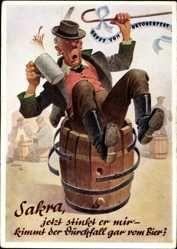 Künstler Ak Hein, K., Oktoberfest, Betrunkener sitzt auf Bierfass, Bierkrug