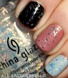 "China Glaze - Luxe & Lush: When layered over ""Riveting"" it looks like your nails have gold leaf over them! by evangeline"