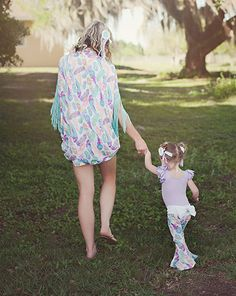 Mommy & Me Peace Feather Set (Kimono & Bell Bottoms)