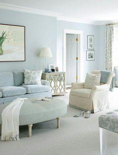 Blue Living Room Decor - What colors go well with sky blue? Blue Living Room Decor - Is GREY still in for # bluelivingroomdecor # roomdecor # diningroomdecorideas Lounges, Home Interior, Interior Design, Modern Interior, Interior Paint, Design Interiors, Monochromatic Room, Monochrome, Home And Deco