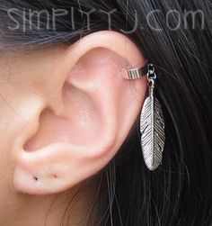 Large Feather Sterling Silver Ear Cuff by SimplicityCharms on Etsy, $7.00