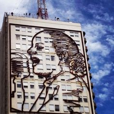 A mural of Evita decorates the Ministry of Health in Buenos Aires