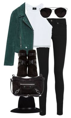 With green jeans and black jacket