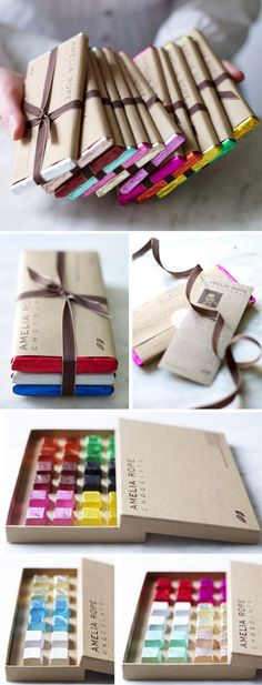 Love how colorful this product packaging is. So tired of brown chocolate wrappers. Very creative! Chocolate packaging by Amelia Rope.