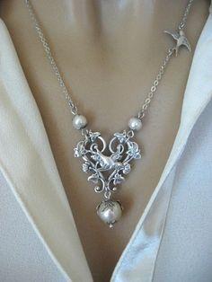Morning Glory Vine Swallow Necklace, Heart Necklace, Leaf Necklace, Bird Necklace, Pearl Necklace, Bridal Jewelry, Weddings