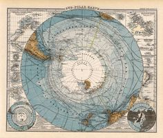 Old Map Of South Pole - Antarctica Map - Giclee Fine Print