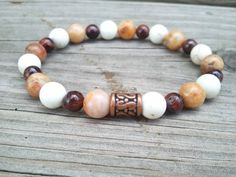 Men's Morocco Agate White Howlite and Red Tiger Eye by NiaBandSags, $22.00