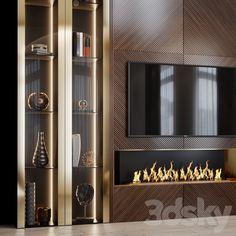 3d models: TV Wall - tv set 123 Living Room Partition Design, Room Partition Designs, Tv Wall Design, Modern Home Interior Design, Dream Home Design, Tv Unit Furniture Design, Luxury Rooms, Home Goods Decor, New Home Designs