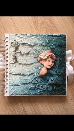 Mixed media handmade journal book, handmade gift, notebook, album, spiral bound