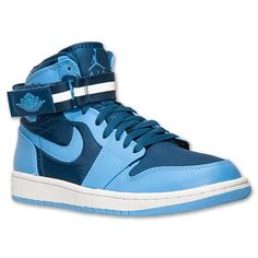 best sneakers 4411d 70f9f Mens Air Jordan Retro 1 High Strap Basketball Shoes - 342132 407   Finish  Line   French Blue University Blue White