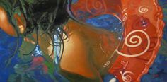 "Swirl on Red, 18"" X 36"", oil on canvas, original art is sold"