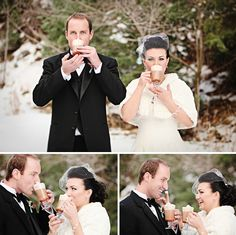 This is great winter wedding inspiration!!  Hot cocoa!  Makes for great photos of the two of you :)