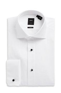 'Valeriano' | Tailored Slim Fit, Spread Collar Two-Ply Italian Cotton Tuxedo Shirt by BOSS