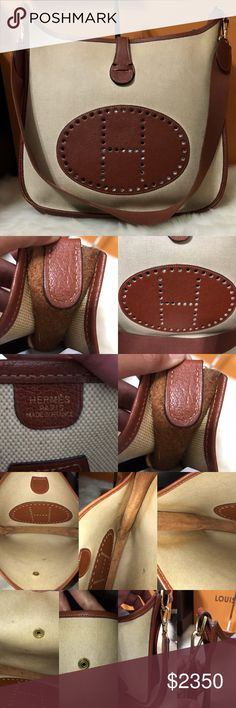 Hermes Evelyne GM 100% Authentic or money back , used condition , minor wear at corners , has pen marks in the interior. Stamp A, year 1997 Made in France Hermes Bags Shoulder Bags