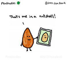#peadoodles #meinanutshell #almond #portrait #selfportrait #nut #nutshell #nutty #foodpun #foodpuns