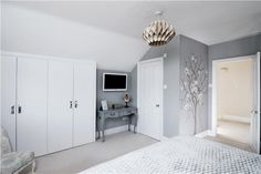 Modern Country Style: Top 20 Most Inspiring Rooms From Farrow And Ball Paint Click through for details. Touches of prettiness stop this bedroom in Farrow and Ball Lamp Room Gray from looking too stark. Relaxing Bedroom Colors, Bedroom Paint Colors, Bedroom Wall, Bedroom Decor, Gray Bedroom, Calm Bedroom, Bedroom Ideas, Master Bedroom, Farrow And Ball Lamp Room Grey