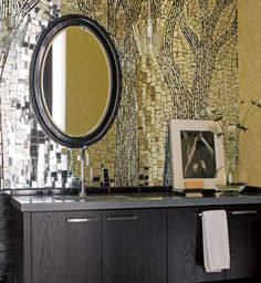 awesome mosaic mirror backsplash