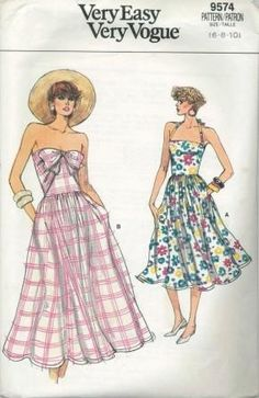 An original ca. 1986 Vogue pattern 9574.  Dress, mid-calf, or above ankle, has close-fitting bodice, dirndl skirt, side pockets, back zipper and stitched hem.  A:  halter neckline.  B:  single-layer, attached tie ends (wrong side may show).  No Provision for Above-Waist Adjustment.
