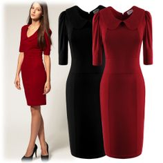 Womens Peter Pan Collar Elbow Sleeve Bodycon Office Pencil Dress US Size 4~12 Features: Intro:  Scoop neck, Peter Pan collar, elbow sleeve,  bodycon,pencil style. Color:Black Red Material: Cotton + Polyester  Package:1 x Dress (other accessories on pictures are NOTincluded.
