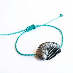 Sterling Silver Aphrodite's Ear Bracelet - Adjustable Bracelet in Oxidised Sterling Silver with Twisted Waxed Cord Oxidized Sterling Silver, Sterling Silver Necklaces, Gold Plated Necklace, Beaded Necklace, Lost Wax Casting, Adjustable Bracelet, Aphrodite, Rose Gold Plates, Teal