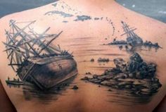 Image detail for -other pirate tattoo designs include portraits of pirates treasure maps ~WOW! Very nice! Kunst Tattoos, Bild Tattoos, Body Art Tattoos, New Tattoos, Ship Tattoos, Arrow Tattoos, Shipwreck Tattoo, Tatto Viking, Mangas Tattoo