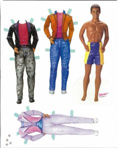 Barbie paper dolls Here are two Barbie sets, both from the 90s.  The first has 4 dolls, Barbie, Teresa (looks more like Christie), Ken and Steve.  It is probably not a complete set.  The second set has one doll and photo clothing.