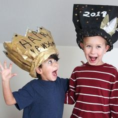 These are awesome! Paper Bag Hat and Crown for New Year's Eve - party hat for kids