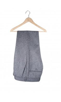 100%Pure Wool Flannel Trousers Light Grey