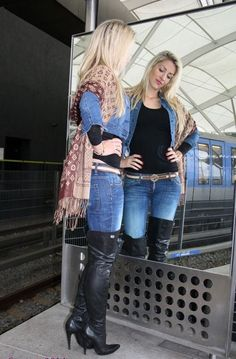 Blonde in jeans and thigh boots Thigh High Boots Heels, Stiletto Boots, Heeled Boots, High Heels, Knee Boots, Casual Skirt Outfits, Sexy Outfits, Over The Knee Boot Outfit, Mini Shorts