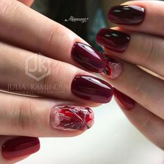 Burgundy nails are great for any outfit, occasion and life situation! Fall Nail Art, Autumn Nails, Fall Nail Colors, Maroon Nails, Burgundy Nails, Burgundy Top, Minimalist Nails, French Nails, Asian Nails